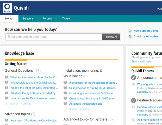 The knowledge base, with hundreds of articles to answer any questions about Quividi solutions
